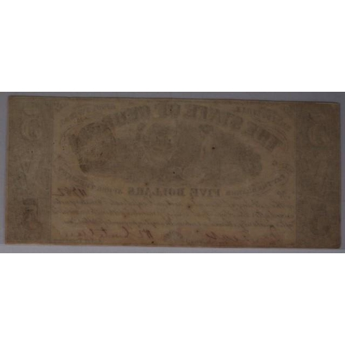 438 - 1864 The State of Georgia five dollar banknote American Civil War currency, 17cm x 17.7cm...