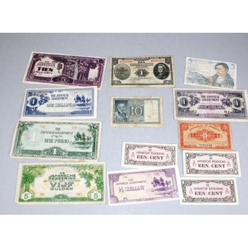 439 - Early bank notes including Japan occupation including French 5 franc note, marked for 1947; early It...