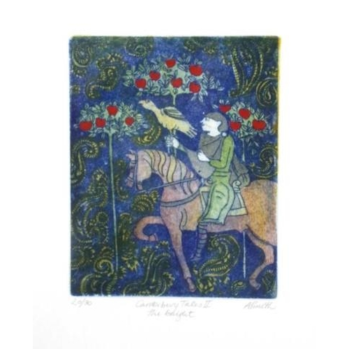 446 - A. Smith (Britain ?) 'Canterbury Tales II' 'The Knight,' coloured etching # 20/30, signed in pencil ...