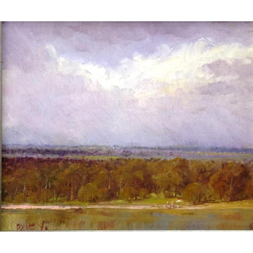 450 - Kevin George Oxley (b 1941) Landscape and River, oil on board, signed lower right, (23cm X 28cm appr...