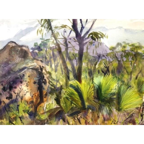 453 - Patricia Giles (b1932) 'The Bush' 'at Coles Bay, East Coast, Tasmania,' watercolour, signed lower ri...