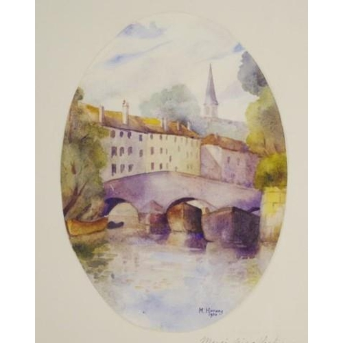 455 - Marcel Harang (France b1910) Bridge & River 1920, watercolour, signed lower right, with hand written...