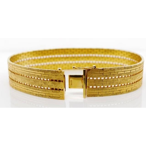 46 - Textured 9ct yellow gold bracelet satin and high polished links with open work. Box clasp and safety...