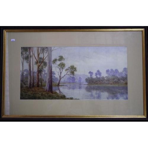 460 - Neville William Cayley (1886-1950) River landscape watercolour, signed lower left, 28cm x 56cm appro...
