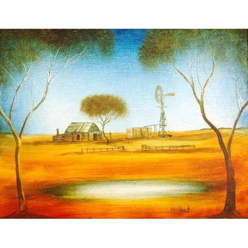 461 - Kevin Charles (Pro) Hart (1928-2006) Outback Home & Windmill, oil on board, signed lower right, circ...
