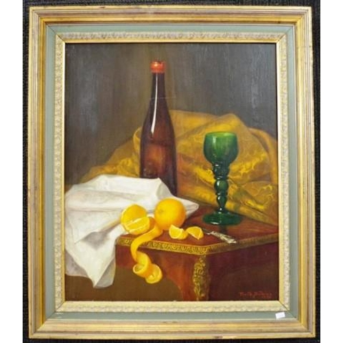 465 - Frank Dickins (Britain) Still Life with Fruit 1886, oil on canvas, signed and dated lower right, (60...