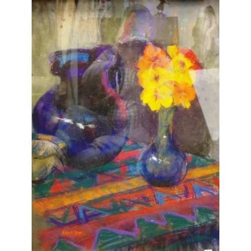 467 - Audrey Addison (Australia) Still Life Flowers oil and pastel, signed lower left.63cm X 48cm approx)....