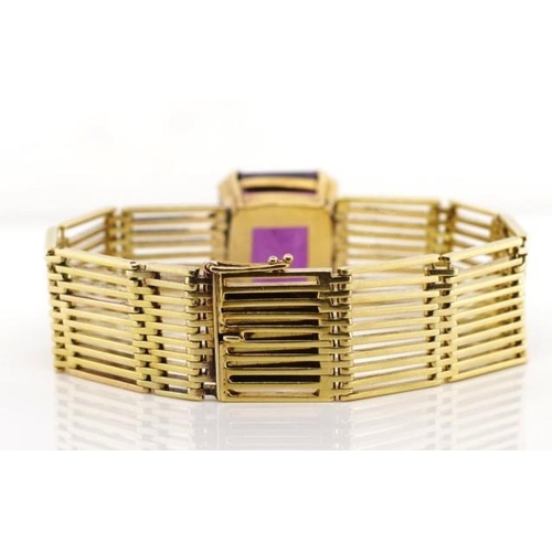 47 - 9ct yellow gold and amethyst bracelet with flat bar and open work links. Marked 585 6.11.1958 to box...