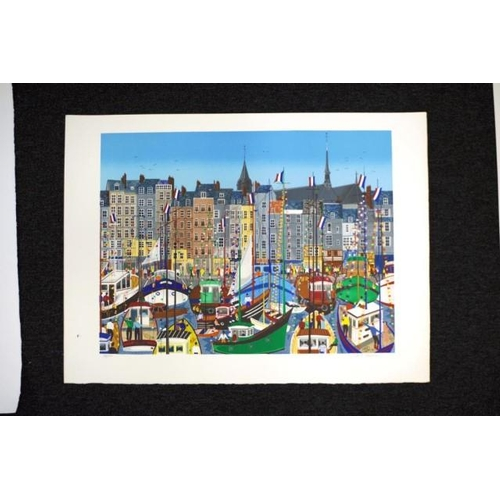 476 - Anne Marie Sabatier (French b1947) French port Honfleur, lithograph, # 98/150, signed in pencil lowe...
