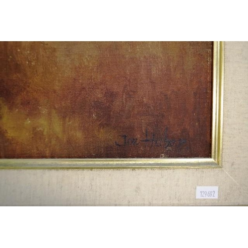 486 - Joe Huber (b1930) 'Home as the Storm Breaks' oil on canvas board, signed lower right, (60cm X 90cm a...