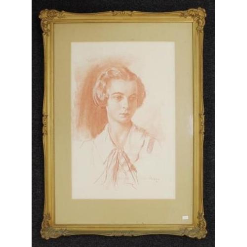 489 - Norman Henry Baker (1908-1955) ' Portrait of the Artist's Sister, Reta Morton,'  crayon conte, signe...