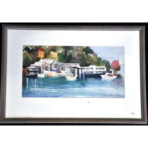 490 - Artist unknown, harbour boats watercolour, signed lower right, 25cm x 49cm approx....