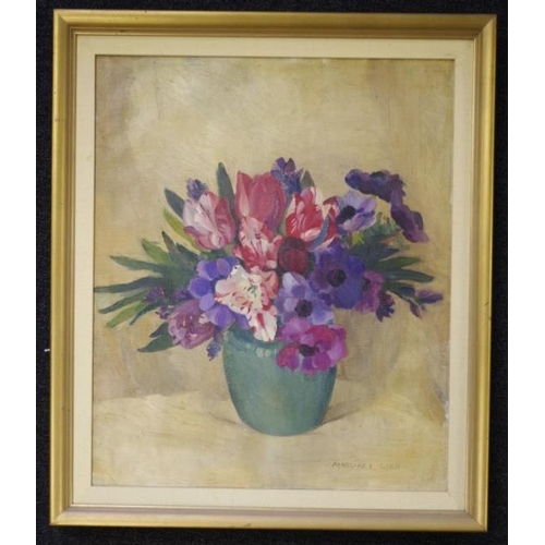 493 - Margaret Agnes Coen (1913-93), Anemones and Tulips oil on canvas, signed lower right, 60cm x 50cm...