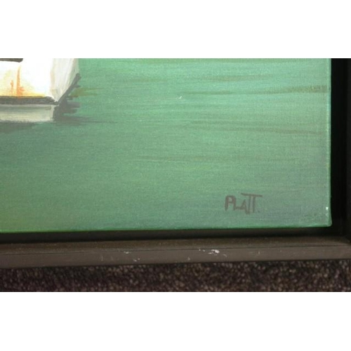 494 - Trevor Platt (NZ/Australia) ' FJKK Wynnum' 2002, oil on canvas, signed lower right, (54cm X 70cm app...