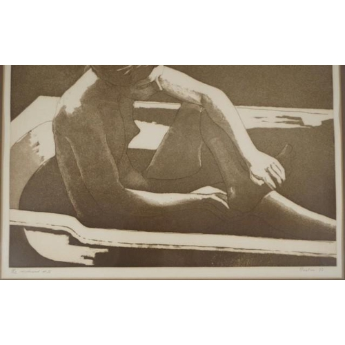 496 - Ättributed David Lloyd Preston (1948 - ) Nude 1977, aquatint, # 2/12, uncoloured # 25, signed in pen...