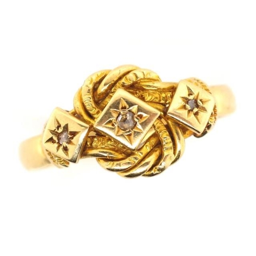 5 - George V 18ct yellow gold knot ring star set with three old cut diamonds By Henry Williamson Ld Lond...