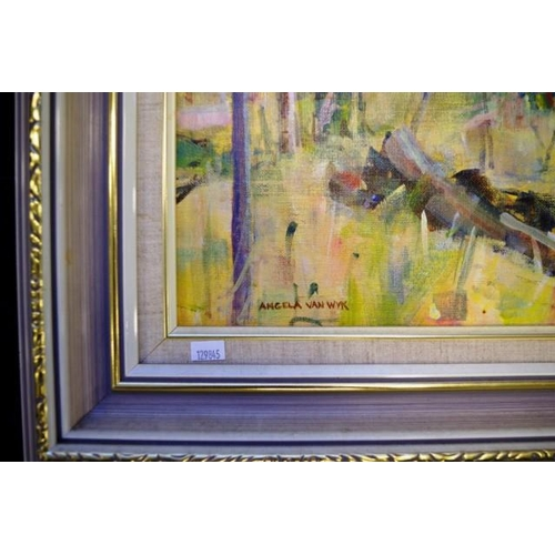 500 - Angela Van Wyk, Dry Creek, Warrumbungles oil on board, signed lower left, 45cm x 60cm approx....
