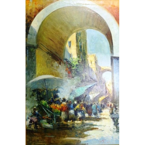 501 - Italian School - Street Scene oil on canvas, signed lower right. (90cm X 59cm approx)....