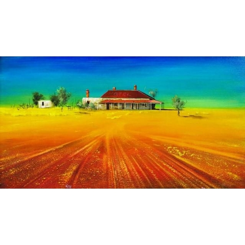505 - John Kerr (b1949) ' Johnburg' ' Ghost Town, South Australia,'  oil on board, signed lower right, (38...