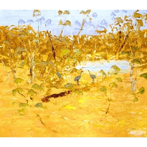507 - Sigie Terseek (Australia) Birds at the Lagoon oil on board, signed lower right, (60cm X 67cm approx)...