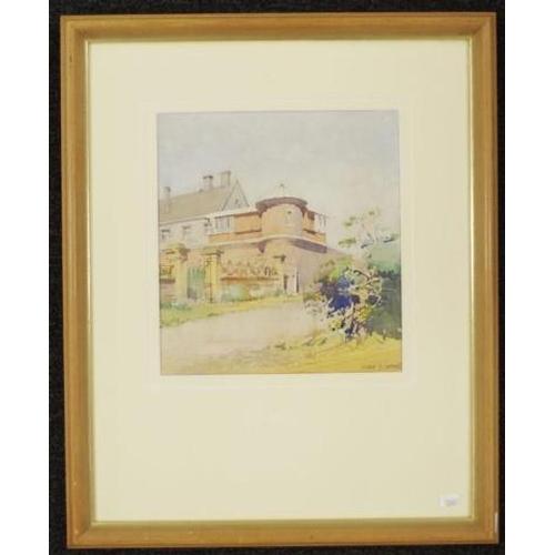513 - Harold Brocklebank Herbert (1892-1945) 'Corner Turret of a Grand Residence,' watercolour, signed low...