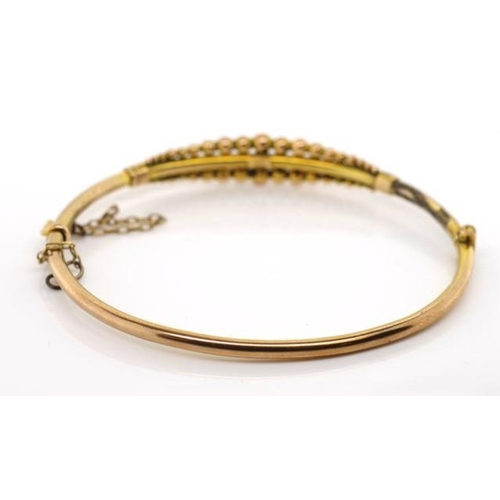 54 - Early 20th C. 9ct yellow gold bangle marked 9ct approx 5 grams, 55mm inside width. With a hinge, box...