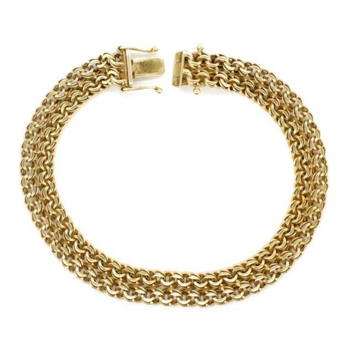 57 - 14ct yellow gold double chain link bracelet marked 585 FBM to box clasp. With two safety catches. Ap...