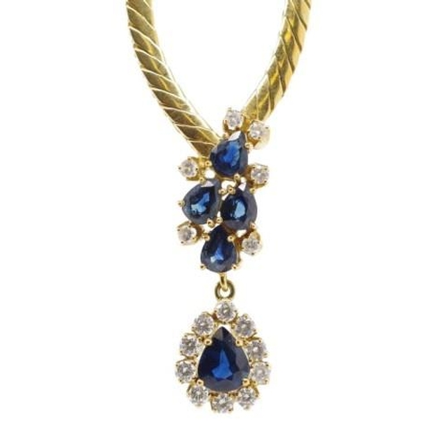 59 - 18ct gold, sapphire and diamond necklet marked 18ct  Approx total 5x pear cut sapphires. Australian ...