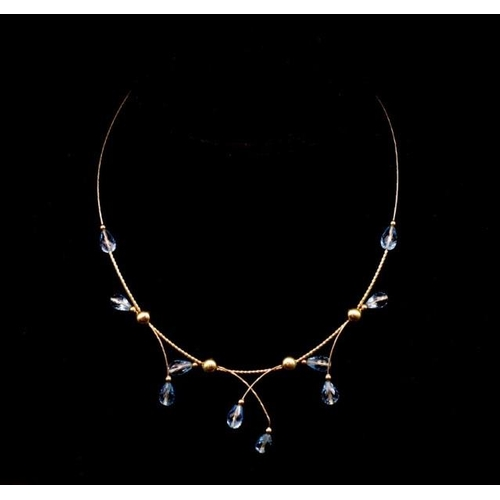 60 - 14ct yellow gold and topaz choker necklace marked 14k 585 approx 11.7 grams including briolettes, 43...