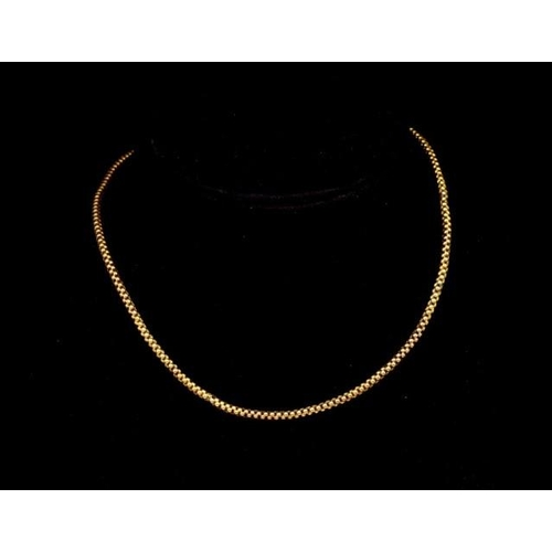 64 - Gold popcorn chain necklace unmarked with a barrel clasp approx 44cm length, 9.6 grams weight. With ...