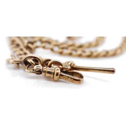 7 - Australian 9ct rose gold fob chain marked 9ct and rubbed touch marks to chain.  T-bar marked for H G...
