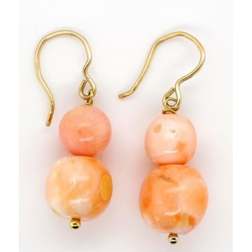 89 - Italian rose coral bead earrings 9ct yellow gold hooks...