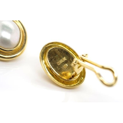 92 - 18ct yellow gold and pearl ear clips by Cerrone. Marked 750 Cerrone. Approx weight 10 grams weight,...
