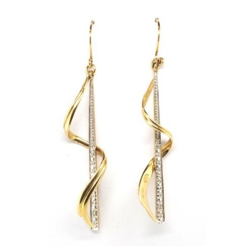 97 - 9ct two tone gold and diamond hanging earrings marked A&C 375 approx weight 3 grams...