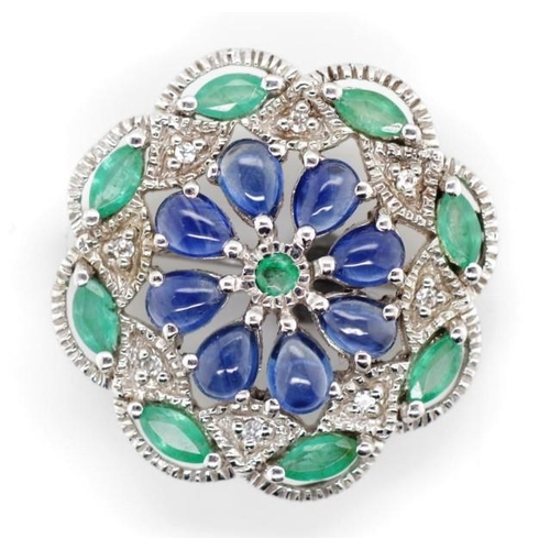 42 - Sapphire, emerald and 9ct white gold brooch marked 9k. Approx weight 3.6 grams weight. Tests as 10ct...