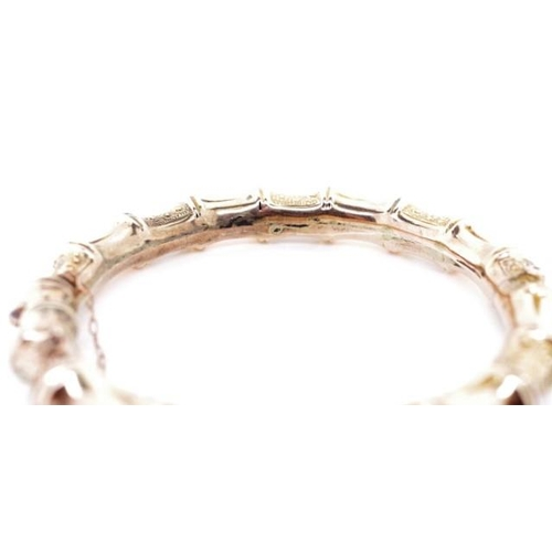 2 - Edwardian 9ct rose gold bamboo bangle marked 9 375, 1905 Birmingham. With hollow bamboo form links w...