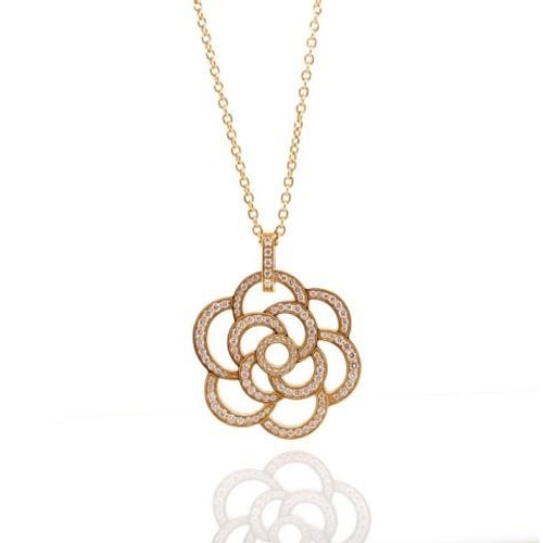 20 - Chanel 18ct pink gold and diamond necklace