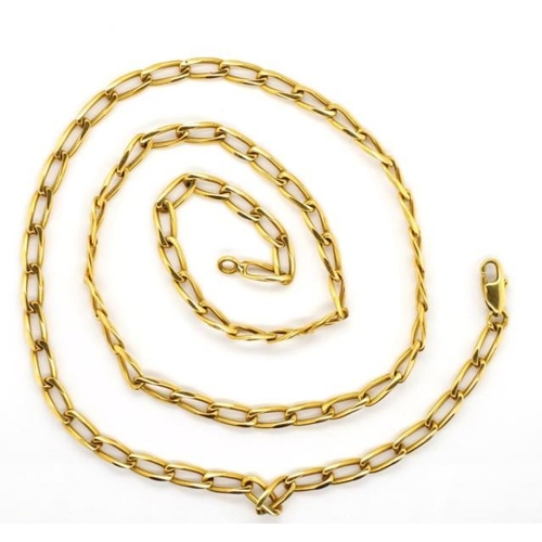 21 - 18ct yellow gold rada chain link necklace marked 750. Approx weight 19 grams weight, length 52cm...