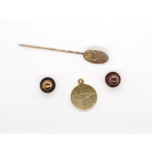 23 - A group of 9ct and 15ct gold jewellery includes two dress studs marked 15ct approx weight 1.1gram,  ...