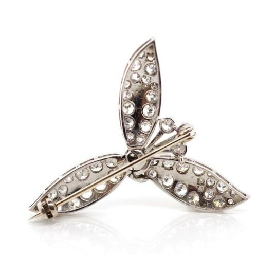 25 - Antique diamond set platinum leaf & flower brooch Approx 54x old European cut diamonds in a white go...