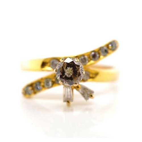 29 - Diamond set 18ct rose gold ring unmarked. Approx center diamond diameter 4.58mm, estimated 0.34ct, P...