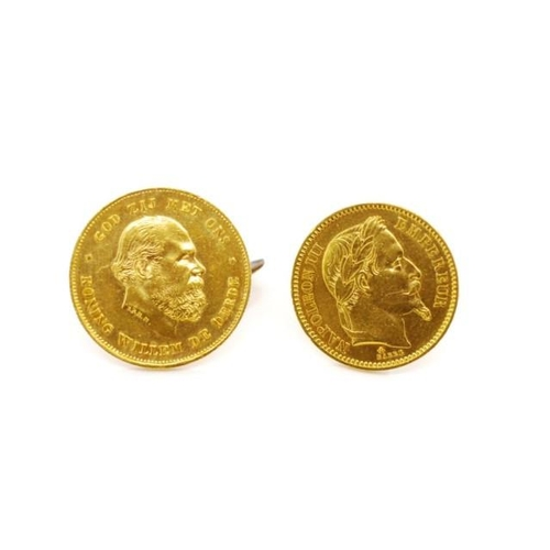 3 - Napoleon III and Prussian gold coin cufflinks French 1863 20 franc coin approx 21mm diameter, 6.4 gr...