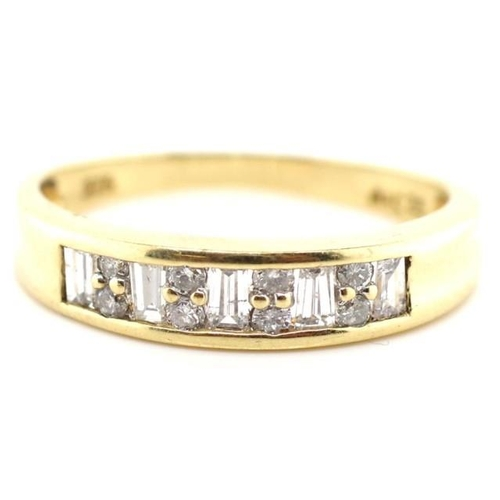 32 - 9ct gold and diamond ring channel set with tapered baguette and round brilliant cut diamonds approx ...