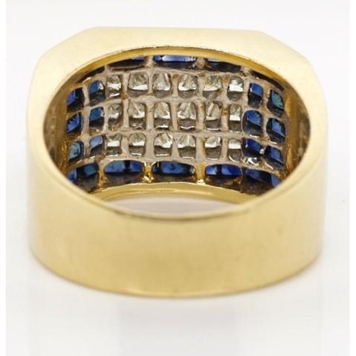 33 - Princess cut diamond and sapphire 14ct gold ring Marked 14k Approx 15x modified square cut diamond t...