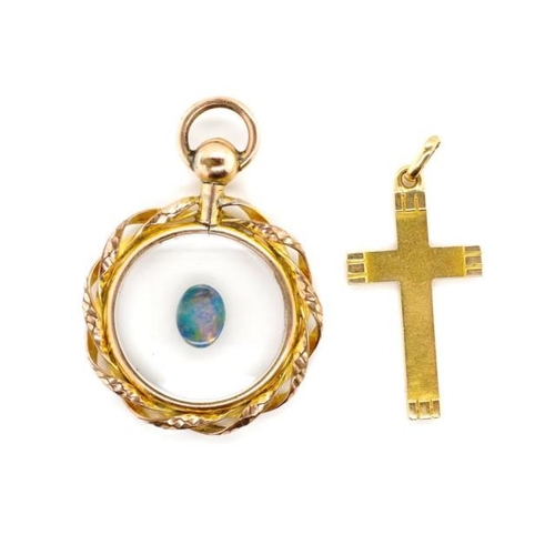 34 - 18ct Gold cross and open locket gilt pendant the gold cross is marked with Arabic marks. The pendant...