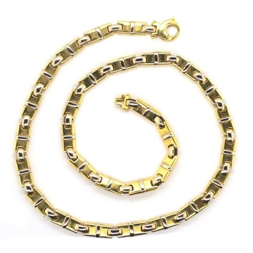 10 - 18ct two tone gold necklace yellow gold bar panelled links with white gold highlights and oval chain...