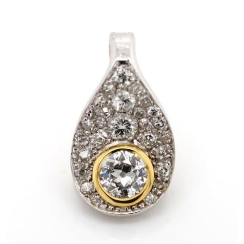 11 - Australian diamond set 18ct white gold pendant valuation reads: Main diamond 0.55ct colour K-L clari...