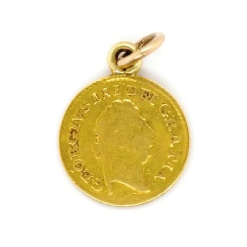 12 - George III coin pendant third of a guinea, dated 1798. With wear. Approx weight 3.2 grams including ...