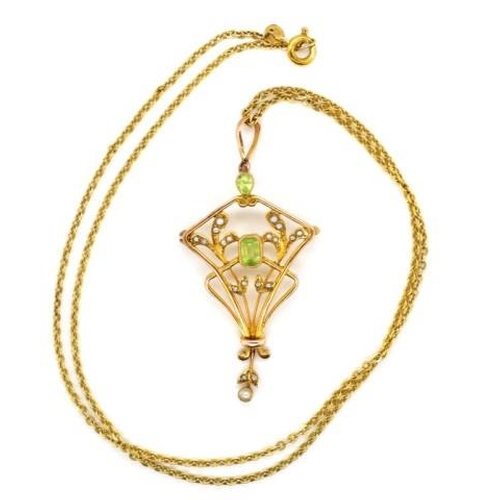 13 - Art Deco 9ct yellow gold pendant on chain set with seed pearls and peridot. Marked 9ct with rubbed m...