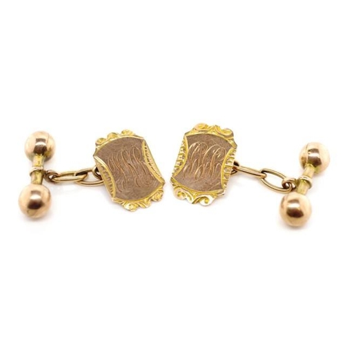 36 - 9ct rose gold cufflinks with engraved shields chain links and dumbbell fasteners. Both marked 9ct. A...